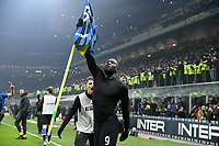 9th February 2020, Milan, Italy; Serie A football, AC Milan versus Inter-Milan; Romelu Lukaku celebrates his goal in the 93rd minute for 4-2 in front of the corner flag,