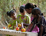 Children participate in Sunday School at a congregation of the Church of Pakistan at Mirpurkhas..