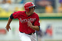 Stony Brook Seawolves outfielder Sal Intagliata #14 heads to third base during the NCAA Super Regional baseball game against LSU on June 9, 2012 at Alex Box Stadium in Baton Rouge, Louisiana. Stony Brook defeated LSU 3-1. (Andrew Woolley/Four Seam Images)