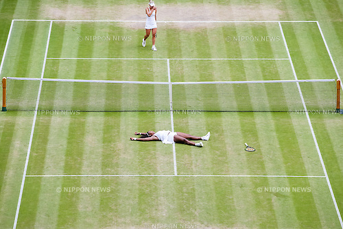 Serena Williams (USA), JULY 9, 2016 - Tennis : Serena Williams of the United States celebrates as she wins the Women's singles final match of the Wimbledon Lawn Tennis Championships against Angelique Kerber of Germany at the All England Lawn Tennis and Croquet Club in London, England. (Photo by AFLO)