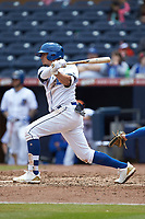 Willy Adames (1) of the Durham Bulls follows through on his swing against the Buffalo Bison at Durham Bulls Athletic Park on April 25, 2018 in Allentown, Pennsylvania.  The Bison defeated the Bulls 5-2.  (Brian Westerholt/Four Seam Images)