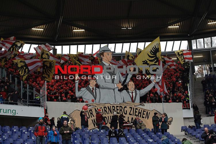 o14.12.2013, HDI Arena, Hannover, GER, 1.FBL, Hannover 96 vs 1. FC N&uuml;rnberg / Nuernberg, im Bild Choreographie im N&uuml;rnberger Fanblock<br /> <br /> Feature<br /> <br /> Foto &copy; nordphoto / Frisch