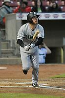 Clinton LumberKings first baseman Ryan Costello (13) swings at a pitch against the Cedar Rapids Kernels at Veterans Memorial Stadium on April 13, 2018 in Cedar Rapids, Iowa. Clinton won 2-0.  (Dennis Hubbard/Four Seam Images)