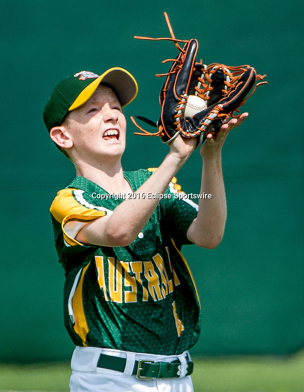 ABERDEEN, MD - AUGUST 02: Tyson Noel #8 of Australia  makes a catch for an out against Australia in a game between Australia and Mexico during the Cal Ripken World Series at The Ripken Experience Powered by Under Armour on August 2, 2016 in Aberdeen, Maryland. (Photo by Ripken Baseball/Eclipse Sportswire/Getty Images)