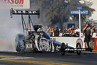 Feb. 14, 2013; Pomona, CA, USA; NHRA top fuel dragster driver Shawn Langdon during qualifying for the Winternationals at Auto Club Raceway at Pomona.. Mandatory Credit: Mark J. Rebilas-