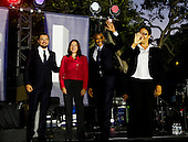 United States President Barack Obama, Leonardo DiCaprio and Dr. Katharine Hayhoe arrive at for panel discussion  on climate change as part of the White House South by South Lawn (SXSL) event about the importance of protecting the one planet we've got for future generations, on the South Lawn of the White House, Washington DC, October 3, 2016. <br /> Credit: Aude Guerrucci / Pool via CNP