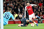Mesut Ozil of Arsenal is fouled in the box during the UEFA Europa League Quarter-Final 1st leg match at the Emirates Stadium, London. Picture date 5th April 2018. Picture credit should read: Charlie Forgham-Bailey/Sportimage