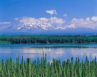 Willow Lake and Mt. Wrangell, Wrangell Saint Elias National Park, Alaska