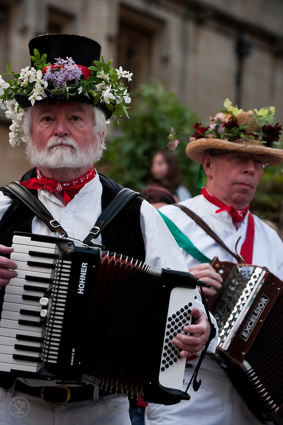 Accordion players accompany the Morris dancers on May Morning in Oxford.