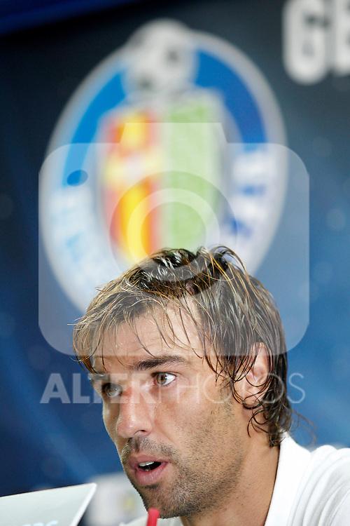 Getafe's new player Juan Valera during his official presentation. August 16, 2011. (ALTERPHOTOS/Acero)