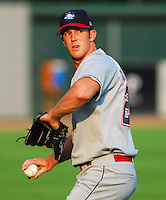 15 Aug 2007:  Scott Mitchinson of the Lakewood BlueClaws, Class A affiliate of the Philadelphia Phillies, in a game against the Greenville Drive at West End Field in Greenville, S.C. Photo by:  Tom Priddy/Four Seam Images