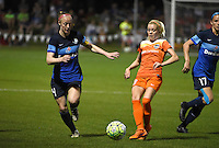 Kansas City, MO - Saturday May 07, 2016: FC Kansas City defender Becky Sauerbrunn (4) against Houston Dash forward Rachel Daly (3) during a regular season National Women's Soccer League (NWSL) match at Swope Soccer Village. Houston won 2-1.