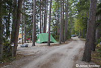 Family campsite with tent