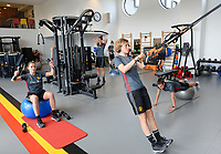 20170608 – TUBIZE , BELGIUM : illustration picture shows a part of the red flames team with Elien Van Wynendaele (left) and Imke Courtois (r) during a fitness and physical session at the fitnessroom of the Belgian national women's soccer team Red Flames trainingscamp to prepare for the Women's Euro 2017 in the Netherlands, on Thursday 8 June 2017 in Tubize.  PHOTO SPORTPIX.BE | DAVID CATRY