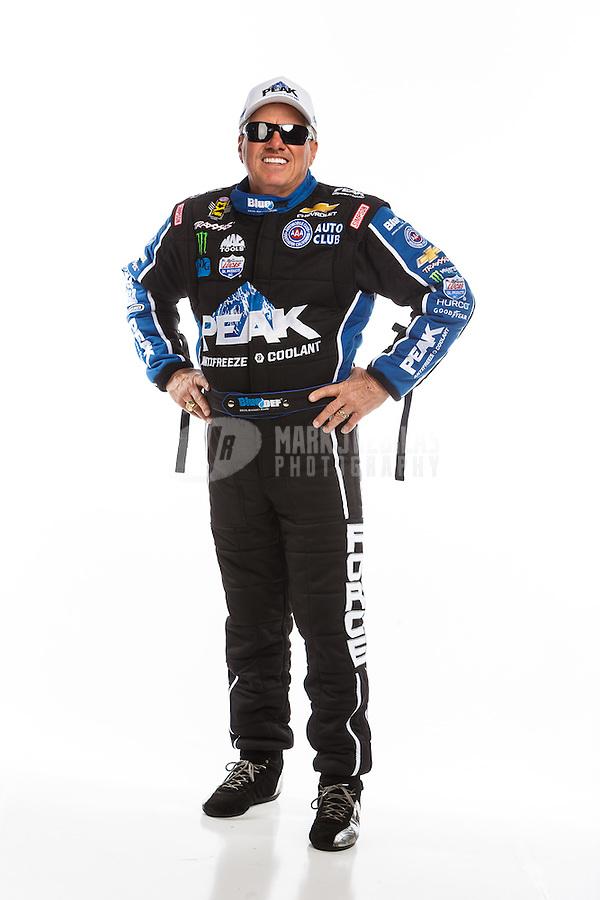 Feb 10, 2016; Pomona, CA, USA; NHRA funny car driver John Force poses for a portrait during media day at Auto Club Raceway at Pomona. Mandatory Credit: Mark J. Rebilas-USA TODAY Sports
