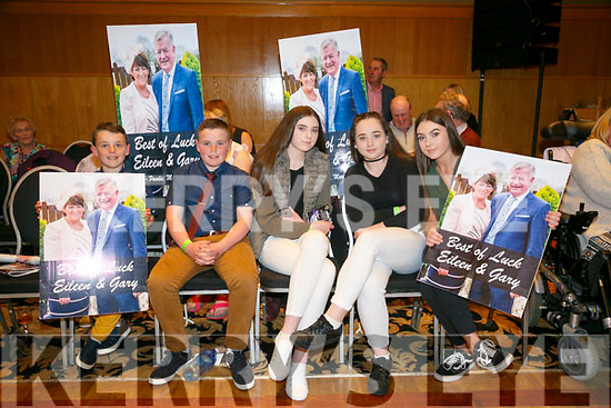 Enjoying   the Churchill GAA Strictly Come Dancing in the Ballyroe Heights Hotel on Sunday were Patrick Hanafin, John Joe Hanafin, Isabelle Travers, Maeve Hanafin and Ann Marie Travers, supporting Eileen and Garry