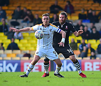 Port Vale's Tom Pope shields the ball from  Lincoln City's Michael Bostwick<br /> <br /> Photographer Andrew Vaughan/CameraSport<br /> <br /> The EFL Sky Bet League Two - Port Vale v Lincoln City - Saturday 14th April 2018 - Vale Park - Burslem<br /> <br /> World Copyright &copy; 2018 CameraSport. All rights reserved. 43 Linden Ave. Countesthorpe. Leicester. England. LE8 5PG - Tel: +44 (0) 116 277 4147 - admin@camerasport.com - www.camerasport.com