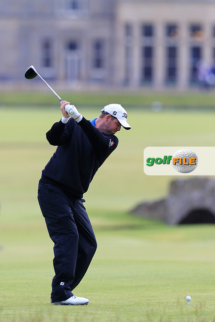Marc Leishman (USA) tees off the 18th tee during Monday's Final Round of the 144th Open Championship, St Andrews Old Course, St Andrews, Fife, Scotland. 20/07/2015.<br /> Picture Eoin Clarke, www.golffile.ie