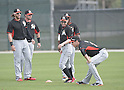 Michael Morse, Ichiro Suzuki, Christian Yelich (Marlins),<br /> FEBRUARY 24, 2014 - MLB :<br /> Miami Marlins spring training camp in Jupiter, Florida, United States. (Photo by AFLO)