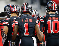 Ohio State Buckeyes wide receiver Braxton Miller (1) wears a jersey with his name spelled incorrectly prior to the NCAA football game against the Penn State Nittany Lions at Ohio Stadium in Columbus on Oct. 17, 2015. (Adam Cairns / The Columbus Dispatch)