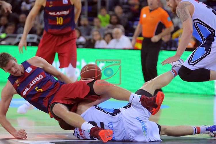 League ACB-ENDESA 2016/2017 - Game: 16.<br /> FC Barcelona Lassa vs Rio Natura Monbus Obradoiro: 100-76.<br /> Justin Doellman vs Eimantas Bendzius.