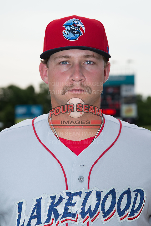 Lakewood BlueClaws first baseman Kyle Martin (27) poses for a photo prior to the game against the Kannapolis Intimidators at CMC-Northeast Stadium on July 14, 2015 in Kannapolis, North Carolina.  The Intimidators defeated the BlueClaws 8-2.  (Brian Westerholt/Four Seam Images)