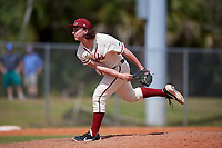 Saint Joseph's Hawks relief pitcher Mike Falco (24) during a game against the Ball State Cardinals on March 9, 2019 at North Charlotte Regional Park in Port Charlotte, Florida.  Ball State defeated Saint Joseph's 7-5.  (Mike Janes/Four Seam Images)