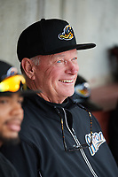 Akron RubberDucks hitting coach Johnny Narron (43) in the dugout before a game against the Binghamton Rumble Ponies on May 12, 2017 at NYSEG Stadium in Binghamton, New York.  Akron defeated Binghamton 5-1.  (Mike Janes/Four Seam Images)