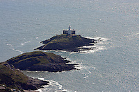 Aerial view of Mumbles Lighthouse in south Wales