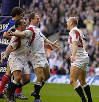 Twickenham, GREAT BRITAIN, Left George CHUTER and Mike CATT, congratulate Mike Tindall [right] on scoring his second half try,during the England vs France Six Nations Rugby International at Twickenham Stadium England on Sunday 11.03.2007,  [Photo Peter Spurrier/Intersport Images]