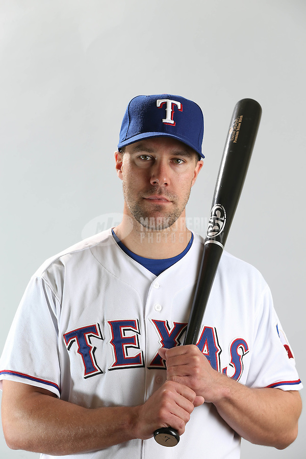 Feb. 20, 2013; Surprise, AZ, USA: Texas Rangers outfielder David Murphy poses for a portrait during photo day at Surprise Stadium. Mandatory Credit: Mark J. Rebilas-