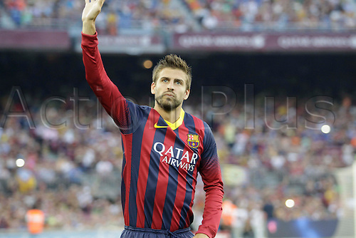02.08.2013 Barcelona, Spain. Joan Gamper Trophee. Picture shows Gerard Pique in action during game between FC Barcelona against Santos at Camp Nou