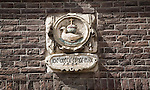 Historic architectural stonework detail sixteenth century dated 1585, Dordrecht, Netherlands