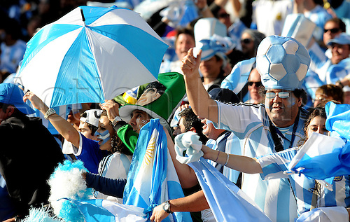 Fans of Argentina celebrate the victory after the FIFA World Cup 2010 soccer match between Argentina and South Korea at the Soccer City Stadium on June 17, 2010 in Johannesburg, South Africa.