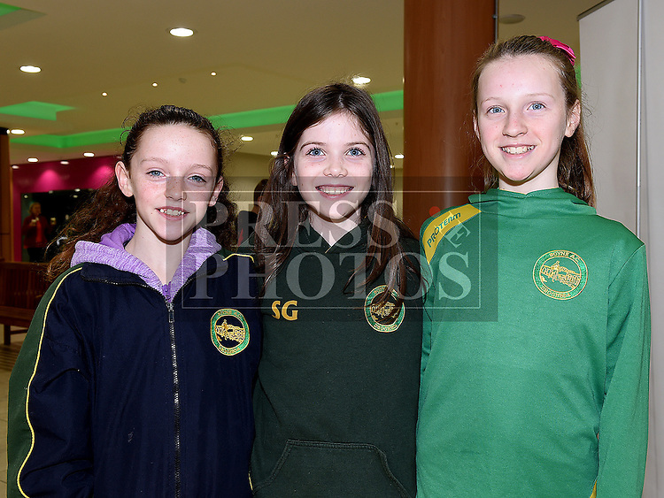 Lily Cummins, Sophie Gartland and Anna Faulkner pictured at the launch of the 2016 Boyne 10K in the laurence Town Centre. Photo:Colin Bell/pressphotos.ie