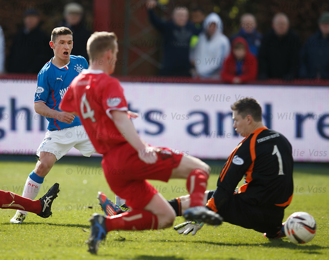 Fraser Aird scores the opening goal for Rangers