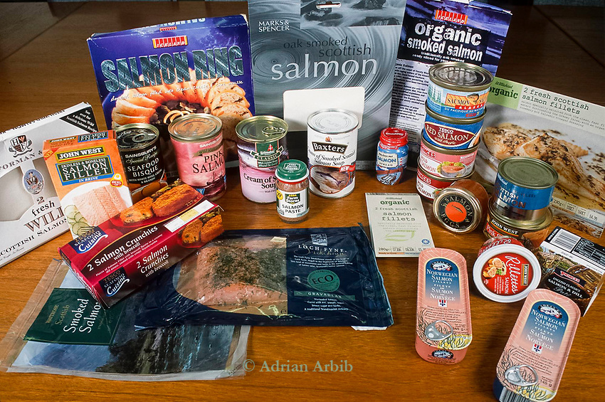 A range of farmed salmon products from Scottish salmon farms