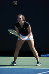 Anna Ulyashchenko of the Wake Forest Demon Deacons in action at #4 singles against the Miami Hurricanes at the Wake Forest Tennis Center on March 31, 2017 in Winston-Salem, North Carolina. The Hurricanes defeated the Demon Deacons 4-3.  (Brian Westerholt/Sports On Film)