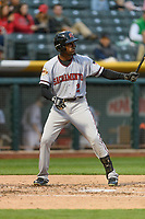 Orlando Calixte (2) of the Sacramento River Cats at bat against the Salt Lake Bees in Pacific Coast League action at Smith's Ballpark on April 11, 2017 in Salt Lake City, Utah.  The River Cats defeated the Bees 8-7. (Stephen Smith/Four Seam Images)