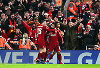 Liverpool's Mohamed Salah celebrates scoring his side's first goal with his team-mates<br /> <br /> Photographer Richard Martin-Roberts/CameraSport<br /> <br /> UEFA Champions League Group C - Liverpool v Napoli - Tuesday 11th December 2018 - Anfield - Liverpool<br />  <br /> World Copyright © 2018 CameraSport. All rights reserved. 43 Linden Ave. Countesthorpe. Leicester. England. LE8 5PG - Tel: +44 (0) 116 277 4147 - admin@camerasport.com - www.camerasport.com