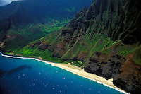 Aerial of Kalalau Beach on the Na Pali Coast