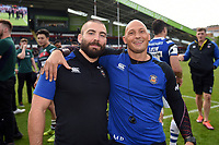 Jameson Mola and Matt Pickard of Bath Rugby pose for a photo after the match. Gallagher Premiership match, between Leicester Tigers and Bath Rugby on May 18, 2019 at Welford Road in Leicester, England. Photo by: Patrick Khachfe / Onside Images