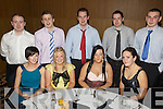 Enjoying themselves at the Abbeydorney GAA Club Social held in The Ballyroe Heights Hotel on Saturday night were seated l/r Mairead Flaherty, Siobhan Keane, Michelle Leen and Sinead Macessy, standing l/r John O'Brien, James Slattery, John Michael Fitzgerald, Fergal Roche and John Collins.................................................................................................................................................................................................................................................................................. ............