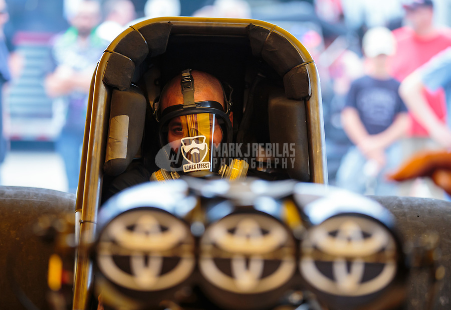Jun 2, 2018; Joliet, IL, USA; NHRA funny car driver J.R. Todd during qualifying for the Route 66 Nationals at Route 66 Raceway. Mandatory Credit: Mark J. Rebilas-USA TODAY Sports