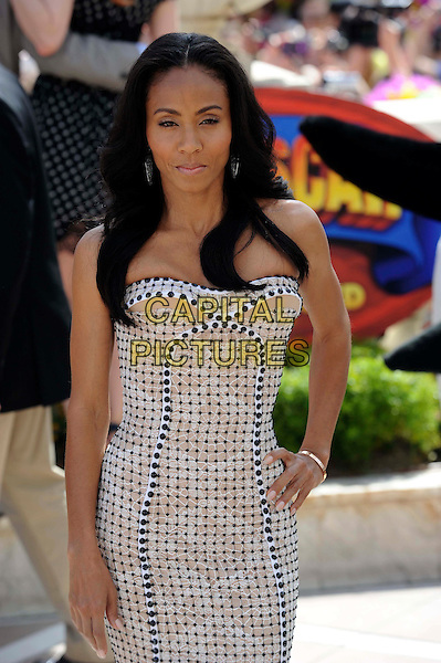 Jada Pinkett Smith.'Madagascar 3: Europe's Most Wanted' .Photocall, 65th Cannes Film Festival, Cannes, France..May 17th, 2012.half length white strapless dress black print hand on hip.CAP/CAS.©Bob Cass/Capital Pictures.
