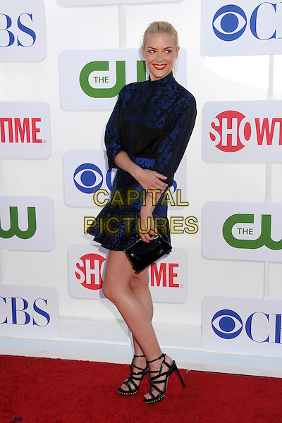 Jaime King.CBS, CW, Showtime 2012 Summer TCA Party held at The Beverly Hilton Hotel, Beverly Hills, California, USA..July 29th, 2012.full length dress black blue print clutch bag strappy sandals .CAP/ADM/BP.©Byron Purvis/AdMedia/Capital Pictures.