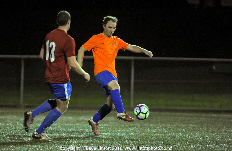 Action from the Wellington Capital 8 club football match between Wellington United Honeybadgers and Porirua St Germain at Wakefield Park, Wellington, New Zealand on Monday, 1 August 2016. Photo: Dave Lintott / lintottphoto.co.nz