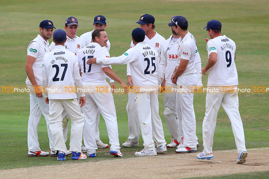 Graham Napier (17) of Essex is congratulated by his team mates after taking the wicket of Joe Clarke during Essex CCC vs Worcestershire CCC, Specsavers County Championship Division 2 Cricket at the Essex County Ground on 2nd September 2016