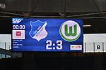 15.02.2020, PreZero-Arena, Sinsheim, GER, 1. FBL, TSG 1899 Hoffenheim vs. VFL Wolfsburg, <br /> <br /> DFL REGULATIONS PROHIBIT ANY USE OF PHOTOGRAPHS AS IMAGE SEQUENCES AND/OR QUASI-VIDEO.<br /> <br /> im Bild: Endstand / Endergebnis / Anzeigetafel / Feature <br /> <br /> Foto © nordphoto / Fabisch