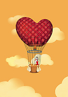 Woman in heart-shaped hot air balloon ExclusiveImage